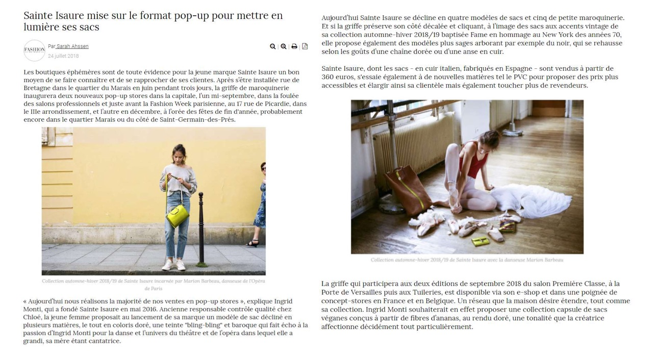 July 2018 : Fashion Network : Sainte Isaure, its next tradeshows and pop up stores