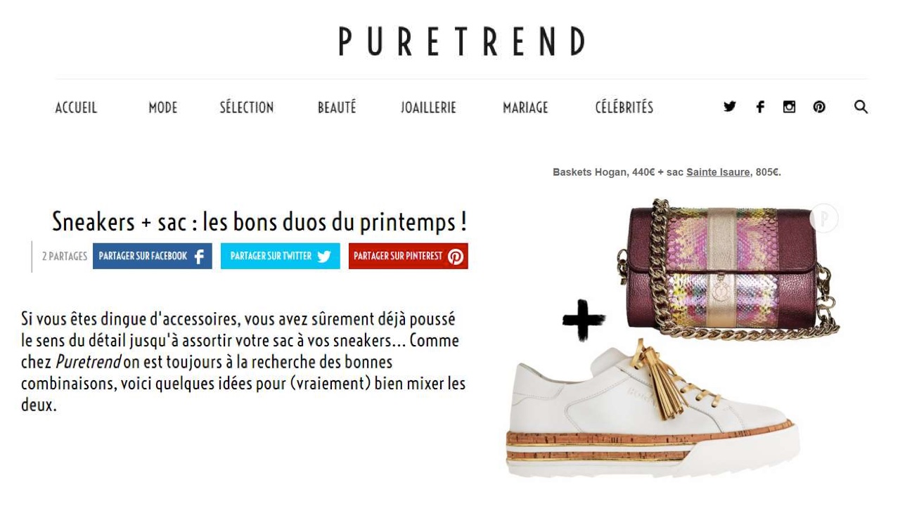 April 2018 : Puretrend.com – Sneakers + bag : Sainte Isaure in the right mix for spring