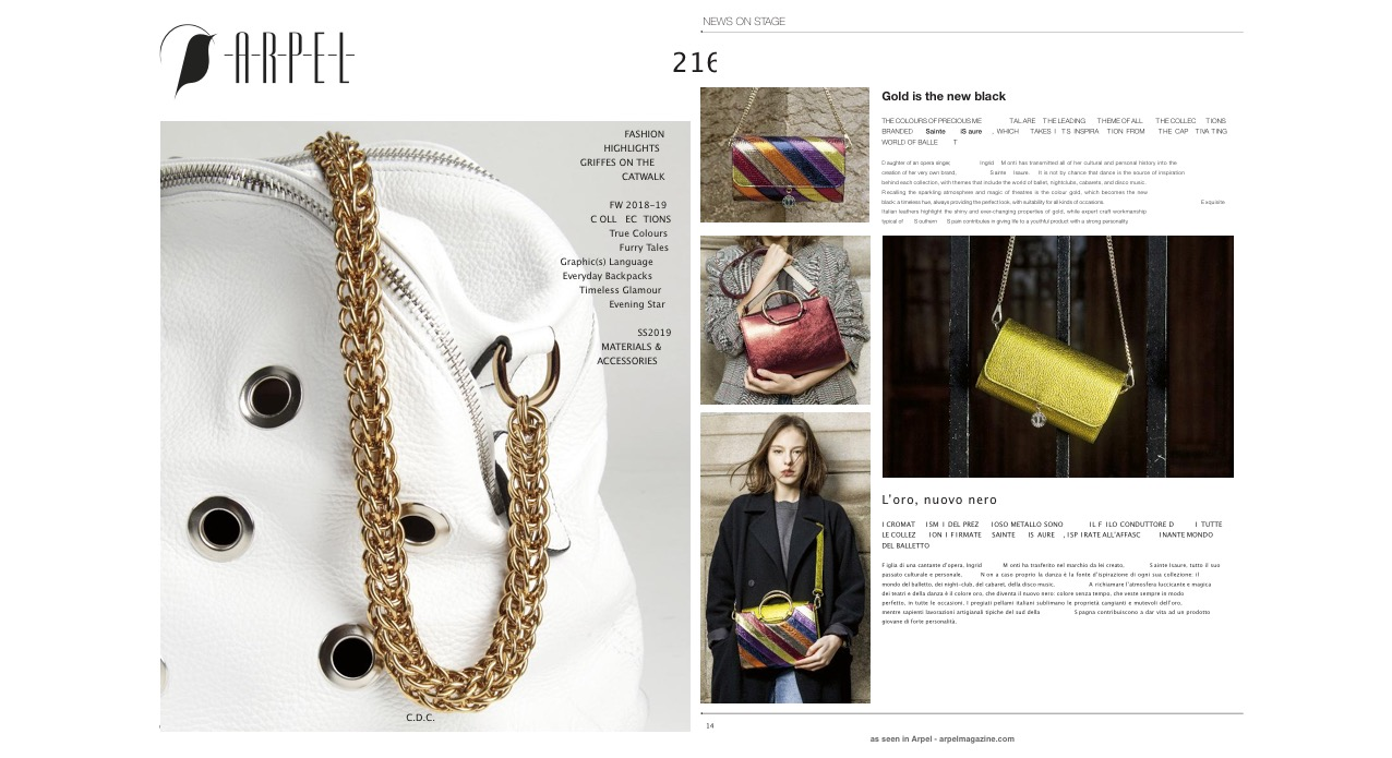 Septembre 2018 : Arpel Magazine : Gold is the new black